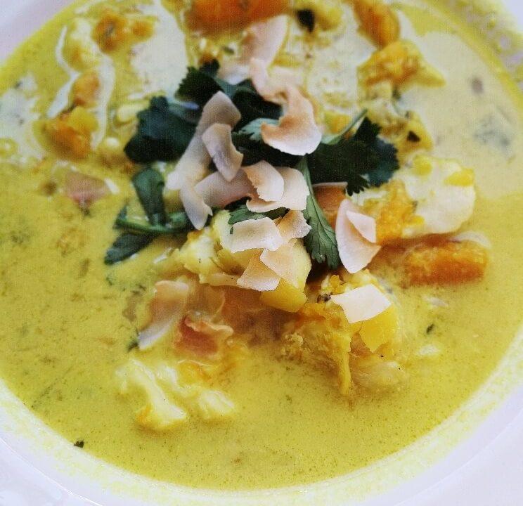 Curry de merluza y calabaza
